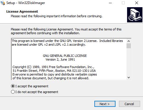 Primer paso para la instalación de Win32 disk imager