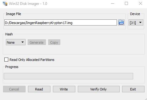 Elegir ruta de archivo en win32 disk imager