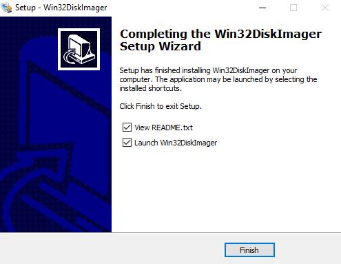 Finalizar la instalación de win32diskimager