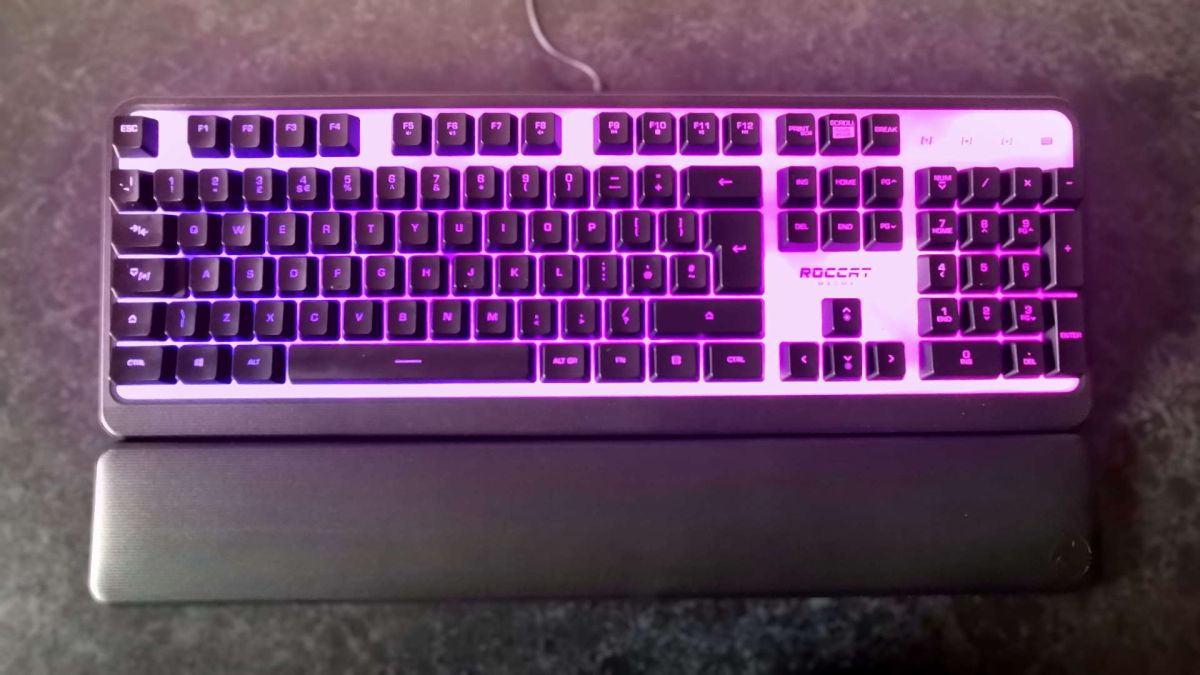 Roccat Magma lit up purple, top down view