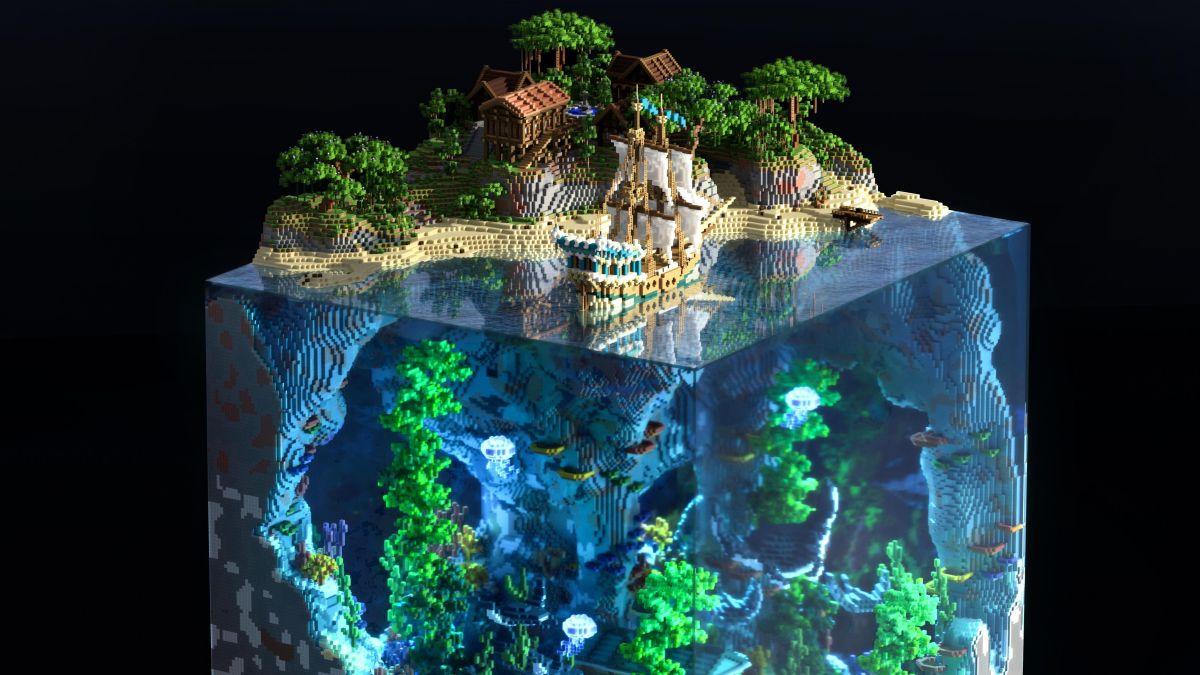 Detén lo que estés haciendo y mira este increíble mundo de Minecraft construido dentro de un bloque